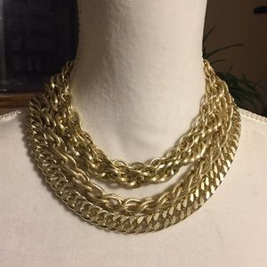 Vintage 4-strand gold tone chain necklace